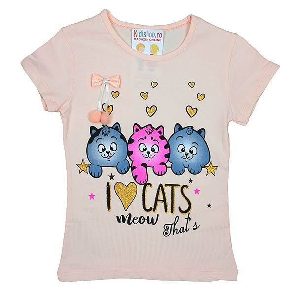 Tricou somon I love cats,